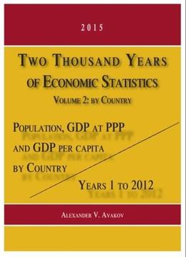 Download ebook Two Thousand Years Of Economic Statistics, Years 1 – 2012: Population, Gdp At Ppp, & Gdp Per Capita. Volume 2